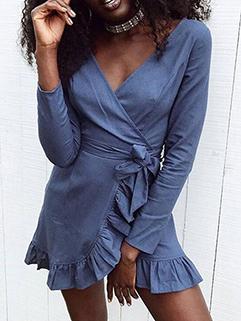 Sexy V-Neck Drawstring Asymmetrical Riffled Hem Dress