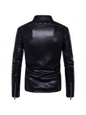 Fashion Zipper Up Long Sleeve PU Jacket w Belt