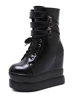 All Match High Tops Black Platform Wedge Boots