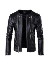 Double Zipper Long Sleeve Motorcycle Jacket Men