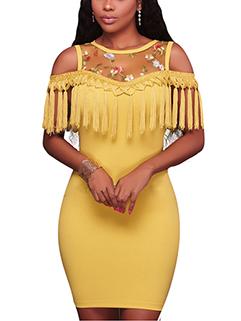 Outlet Open Shoulder Short Sleeve Tassels Dresses