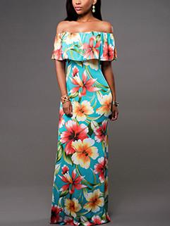 Off-Shoulder Floral Boat Neck Ruffled Draped Dress