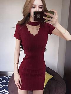 Solid Wave V Neck Short Sleeve Wrap Dress