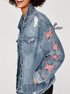 Fashion Lapel Worn Out Bandage Denim Jacket 3-4days Delivery