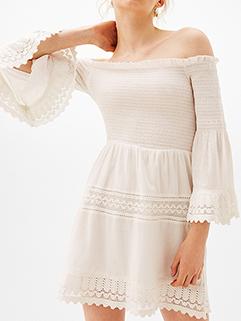 Elegant Off-Shoulder Lace Patchwork Flare Sleeve Dress ( 3-4 Days Delivery )