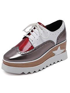 Color Matching Lace Up Square Toe Platform Shoes