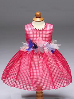 Adorable Plaid Bow Tie Sleeveless Girl's Princess Dress