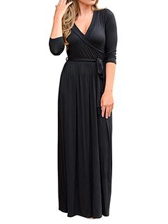 Ruffle Solid V Neck Black Floor Length Dress