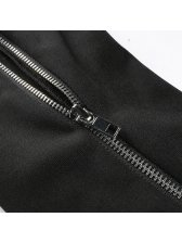 Stylish Zip Up Side Slit Black Pants For Women