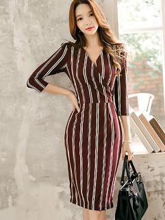 Elegant OL Style Stripe V-Neck Draped Wrap Dress