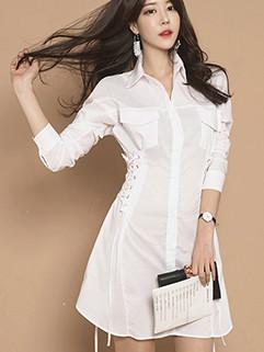 Elegant Drawstring Lapel Single Breasted Shirt Dress