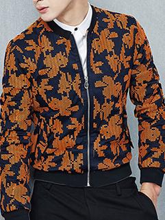 Maple Leaf Prints Long Sleeve Zipper Men Jackets