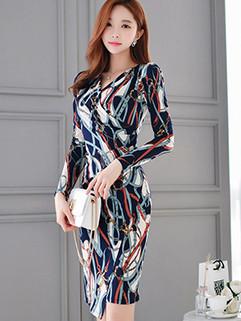 Elegant OL V-Neck Printed Draped Wrap Dress