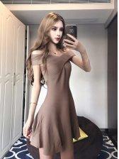 Sexy Cross Halter Solid Smart Waist A-Shape Dress