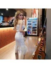Sexy Strapless Gauze Patchwork Fish Tail Wrap Dress