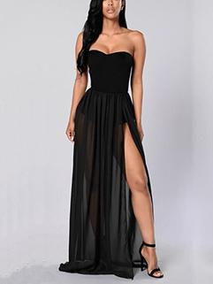 Euro Strapless Slit Solid Smart Waist Long Dress