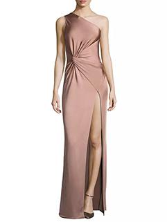 Inclined Shoulder Solid Slit Sleeveless Evening Dress