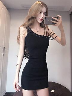Fashion Inclined Shoulder Asymmetrical Strap Wrap Dress