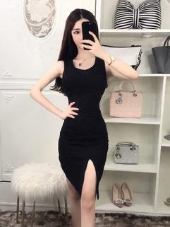 Solid Slit Asymmetrical Sleeveless Bodycon Dress