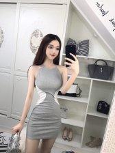 Color Matching Spaghetti Straps Sleeveless Wrap Dress