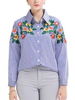 Fresh Lapel Floral Embroidery Stripe Blouse