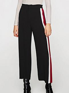 Casual Side Split Color Contrast Stripe Pants 3-4days Delivery