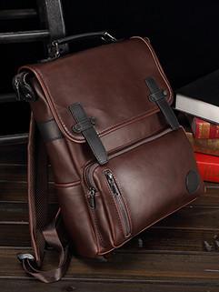 British Style Solid Hasp Zipper Men Backpacks