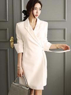 Fashion OL Slim Trim Collar Lace Up Dress