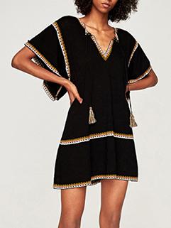 Color Block V Neck Tassels Flare Sleeve Dress (3-4 Days Delivery)