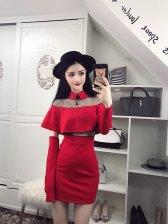 Autumn Gauze Patchwork Off-Shoulder Wrap Dress