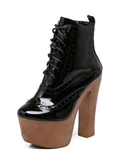 Super High Heels Glossy Chunky Boots Women