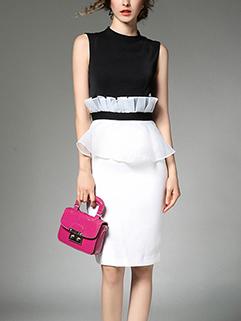 Customize Ruffle Patch Fashion Pencil Dress