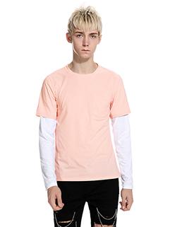 Fashion Color Match Chest Pocket Men Tee