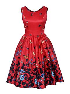 Vintage Printed Sleeveless High Waist A-Line Dress
