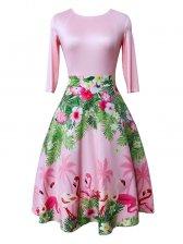Vintage Printed Patchwork Half Sleeveless Dress
