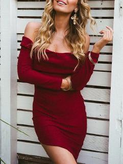 Sexy Long Sleeve Asymmetrical Off Shoulder Dress