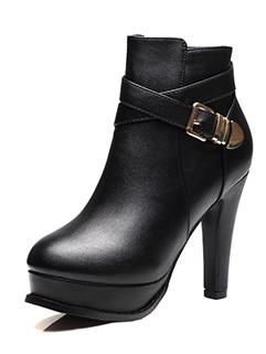 Metal Buckle Zip Up Black Platform Chunky Boots
