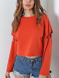 Straight Long Sleeve Bandage Sweatshirt