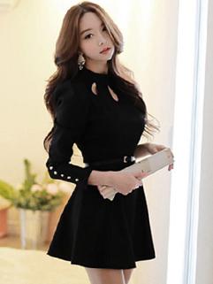 Elegant Hollow-Out Smart Waist A-Line Dress