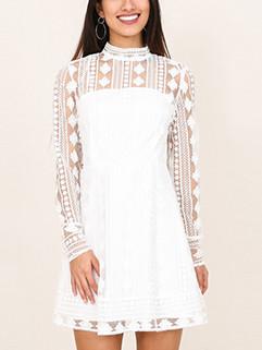 Vocation Long Sleeve Lace Short Dress