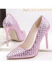Elegant Weaving Design Pointed Toe High Heels