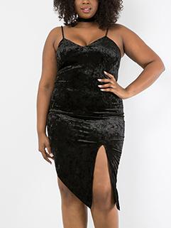 Large Size Strap Asymmetrical Slit Velvet Dress