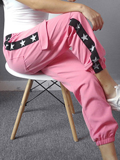 Sporty Elastic Star Printing Pocket Pants