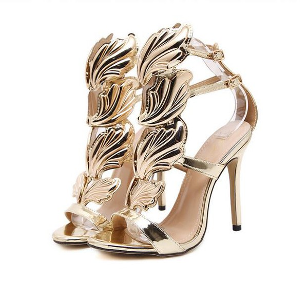 New Feather Design Hollow Out Stiletto Sandals