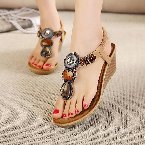 Bohemain Beading Flip Flops The Wedges Sandals