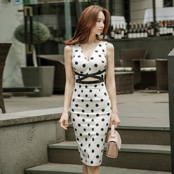Korean V Neck Dots Sexy Pencil Dress
