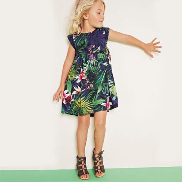 Hot Sale Printing High Waist Dress For Girls