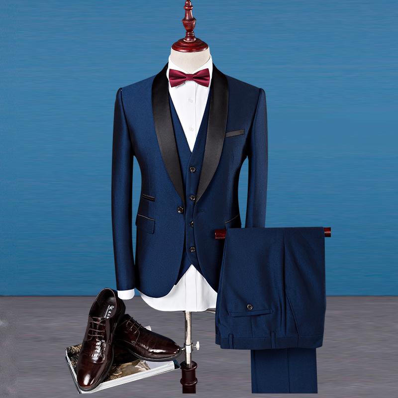 Contrast Color Patch One Button 3Pcs Men Suit