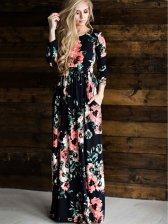 Euro Floral Prints Elastic Waist Floor Length Dress