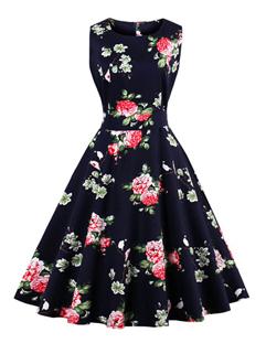 Flower Printing Smart Waist A-Line Dresses